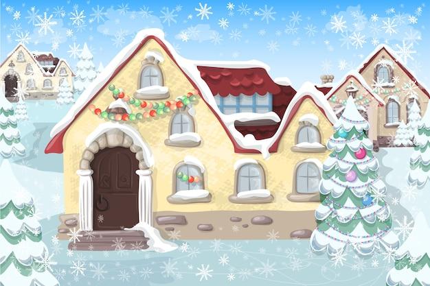 Weihnachtslandschaft mit weihnachtsbaum und haus