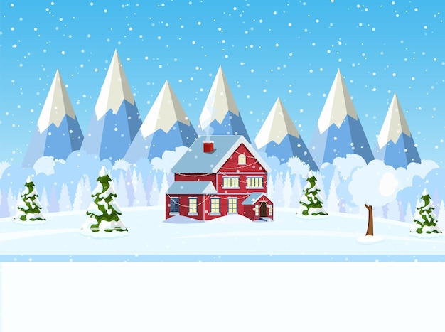 Weihnachtslandschaftshintergrund mit schnee und baum