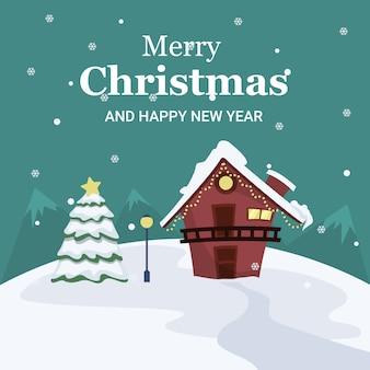 Weihnachtslandschaftskarte des hauses und des baums mitten in schnee