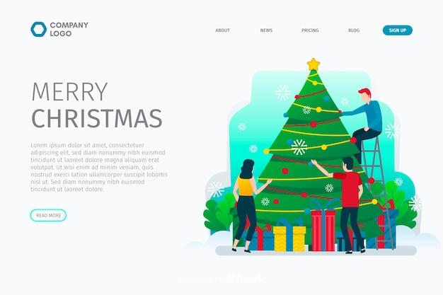 Weihnachtslandungsseite des flachen designs