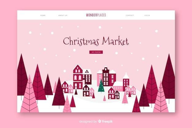 Weihnachtslandungsseite mit flachem design