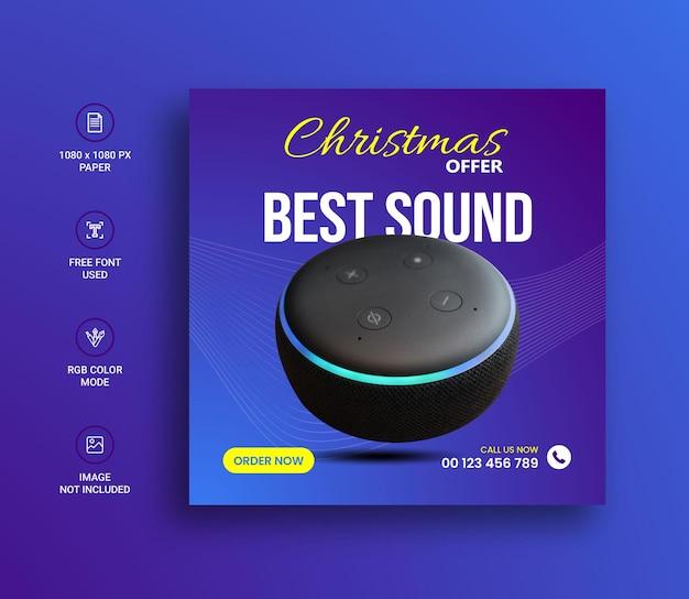 Weihnachtslautsprecher verkauf social-media-instagram-post-banner-design-vorlage