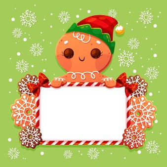 Weihnachtslebkuchenmann, der leeres banner hält