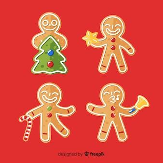 Weihnachtslebkuchenmann im unterschiedlichen stellungssatz
