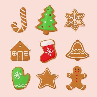 Weihnachtslebkuchenplätzchen, eingestellt. illustration in der hand gezeichnet, gekritzelart