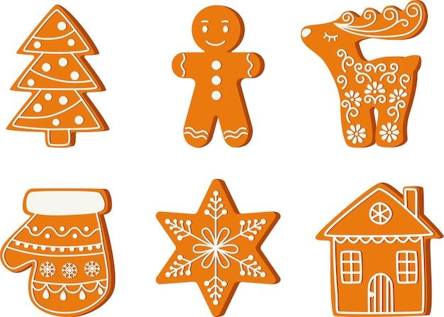 Weihnachtslebkuchenplätzchen traditionelles feiertagsessen vektor-weihnachtsbaummann-hirschstern-haushandschuh