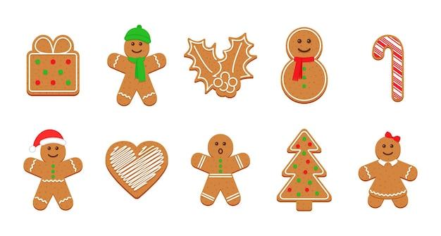 Weihnachtslebkuchenplätzchen. weihnachts-zuckerguss-kekse. vektor-illustration.