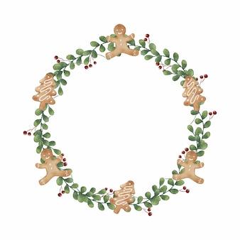 Weihnachtslebkuchenplätzchenkranzdekoration im aquarellstil