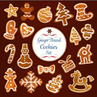 Weihnachtslebkuchenplätzchensatz. süßer ingwer-keks-weihnachtsbaum, zuckerstange, mann, stern, kugelball, geschenkbox, schneemann, strumpfsocke, schneeflocke, haus, handschuh, herz und schaukelpferd mit zuckerguss
