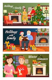 Weihnachtsleute in sankt-hüten, die fröhliches weihnachten feiern, familie verzieren baum des neuen jahres zusammen. illustrationssatz lächelnder mann, frau, kindercharaktere mit den geschenken lokalisiert auf weiß