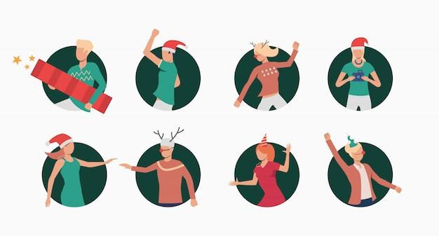 Weihnachtsleute stellten fahne ein