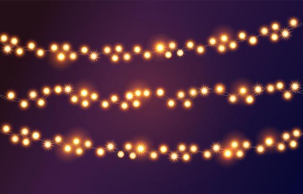 Weihnachtslicht. girlande in leuchtenden farben. dekor für party, festlich oder geburtstagsfeier.