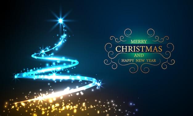 Weihnachtslichtbaum bokeh hintergrund mit parteiplakat