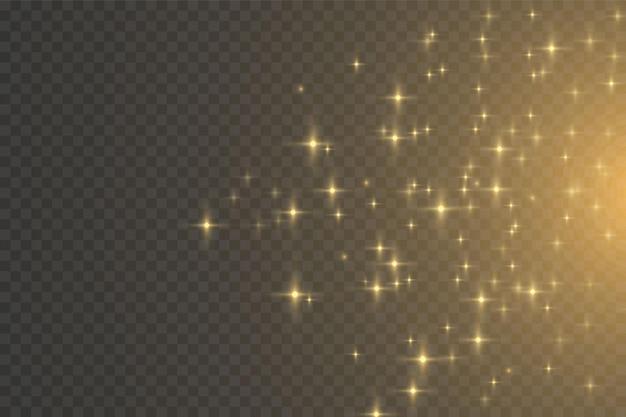 Weihnachtslichteffekt. glitzereffekt von partikeln. vektor funkelt auf transparentem hintergrund funkelnde magische staubpartikel. die staubfunken und goldenen sterne leuchten mit besonderem licht.