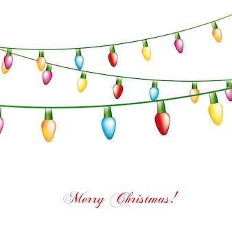 Weihnachtslichter getrennt über weißer Hintergrundvektorillustration