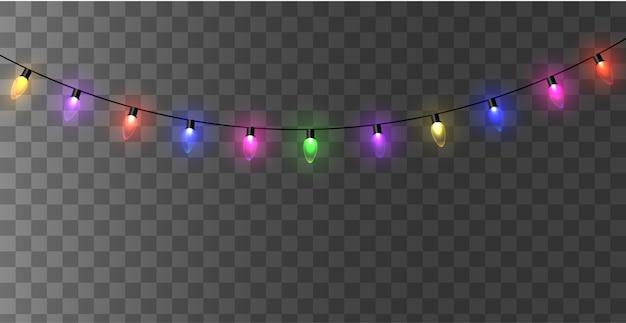 Weihnachtslichter isoliert. leuchtende girlande led neonlampe.