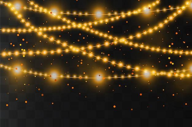Weihnachtslichter isolierten realistische gestaltungselemente. leuchtende lichter, girlandendekorationen. led neon