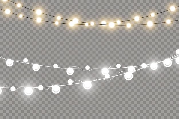 Weihnachtslichter, lokalisiert auf einem transparenten hintergrund. leuchtende girlandenlichterketten.