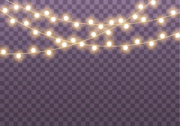 Weihnachtslichter lokalisiert auf transparentem hintergrund für karten, fahnen, plakate, webdesign. satz goldene weihnachtsleuchtgirlande führte neonlampenillustration