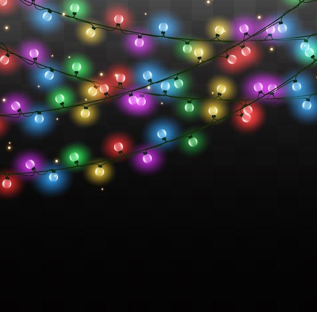 Weihnachtslichter lokalisiert auf transparentem hintergrund. weihnachtsglühende girlande.