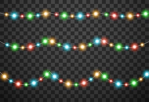 Weihnachtslichter lokalisiert auf transparentem hintergrund