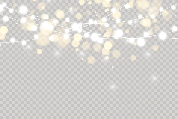 Weihnachtslichter lokalisiert auf transparentem hintergrund.
