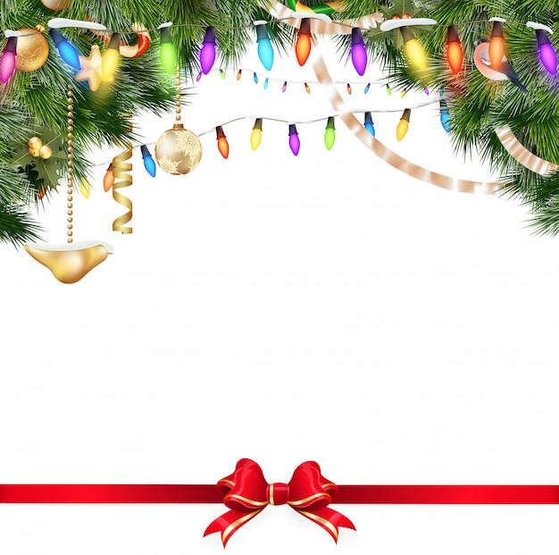 Weihnachtslichter lokalisiert auf weißem hintergrund.