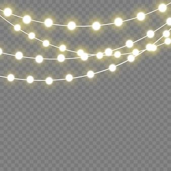Weihnachtslichter lokalisierten realistische elemente. leuchtende lichter für weihnachten holiday.led neonlampe