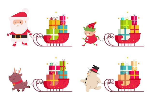 Weihnachtslieferung mit weihnachtsmann, rentier, schneemann, elfe und schlitten mit geschenk. karikaturillustration gesetzt auf einem weißen hintergrund.