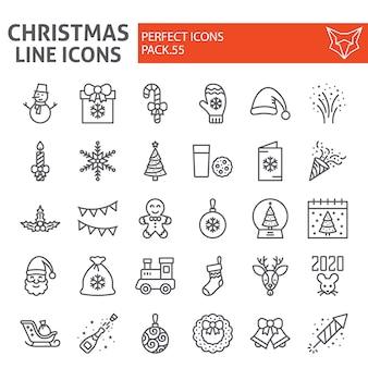 Weihnachtslinie icon-set