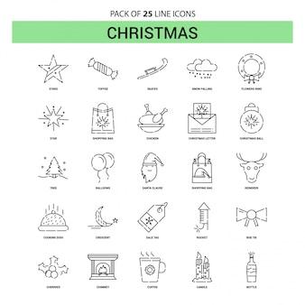 Weihnachtslinie-ikonen-set - 25 gestrichelte entwurfs-art
