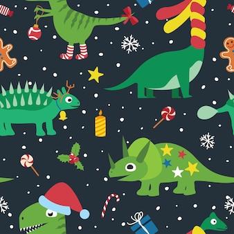 Weihnachtslustige dinosaurier, nahtloses muster.