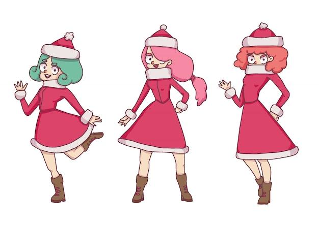 Weihnachtsmädchen im sankt-kostüm