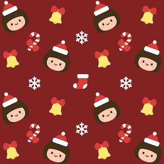 Weihnachtsmädchen-nahtloser muster-hintergrund