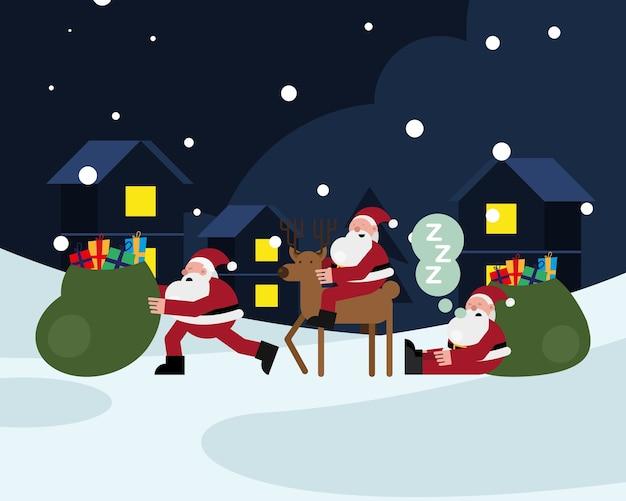 Weihnachtsmänner claus mit rentier- und geschenkbeutel-weihnachtsfigurenvektorillustrationsentwurf