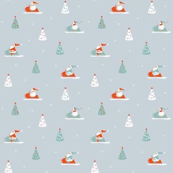 Weihnachtsmänner und schneemänner in einem schneemobil zwischen den weihnachtsbäumen. nahtloses wintermuster.