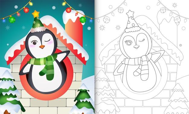 Weihnachtsmalbuch mit einem pinguin
