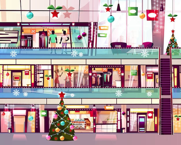 Weihnachtsmall kauft illustration von boutiquen und von weihnachtsbaum am rolltreppentreppenhaus.
