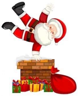 Weihnachtsmann am kamin szene