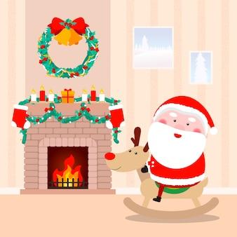Weihnachtsmann am kaminhintergrund