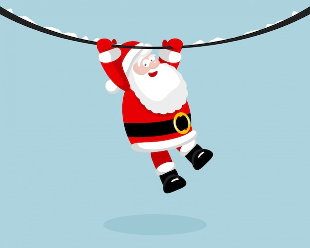 Weihnachtsmann am seil hängen