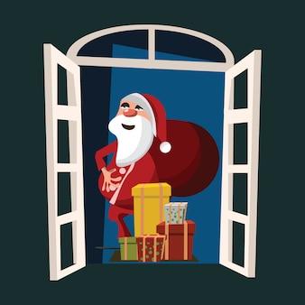 Weihnachtsmann an der türvektorillustration