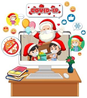 Weihnachtsmann auf computeranzeige mit social-media-symbol