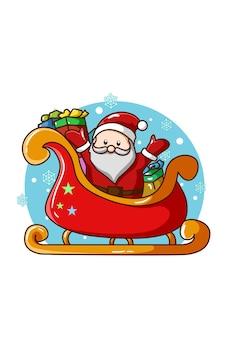 Weihnachtsmann auf dem schlitten mit einigen geschenken