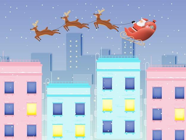 Weihnachtsmann auf dem schlitten mit schönem himmel in der papierkunst