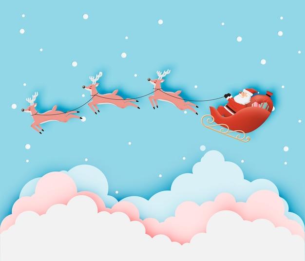 Weihnachtsmann auf dem schlitten mit schönem himmel in papierkunst und pastellfarben