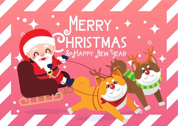 Weihnachtsmann auf der schlittenillustration