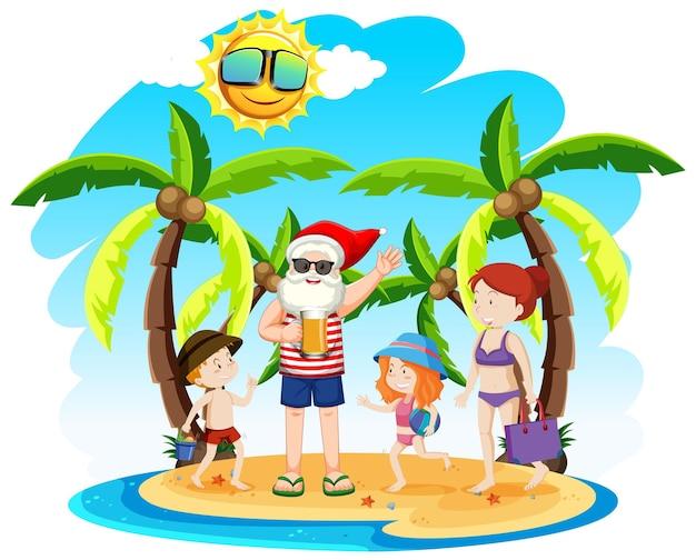 Weihnachtsmann auf der strandinsel mit kindern zu sommerweihnachten
