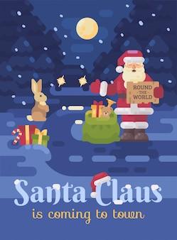 Weihnachtsmann auf der straße trampen