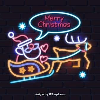 Weihnachtsmann auf einem rentier in neon